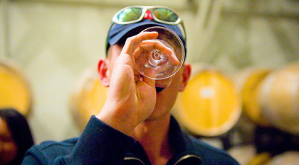 barrel tasting wine