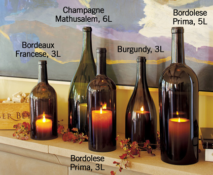 cut wine bottles candles
