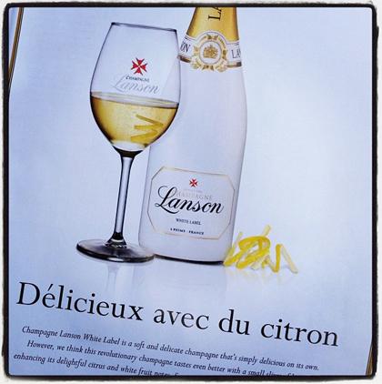 champagne lanson lemon