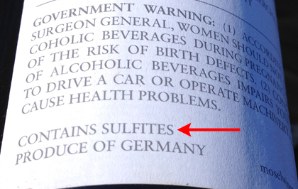 contains sulfites wine